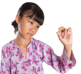 Young Girl And Medicine Tablets