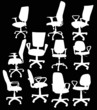 eleven office chairs isolated on black