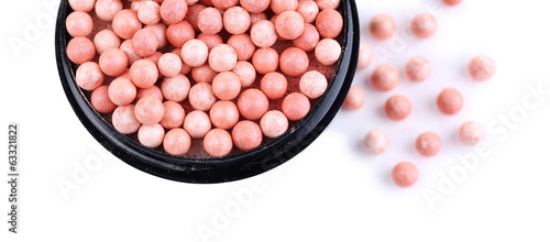 Powder balls isolated on white