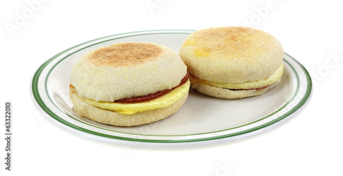 Two English Muffins on Plate