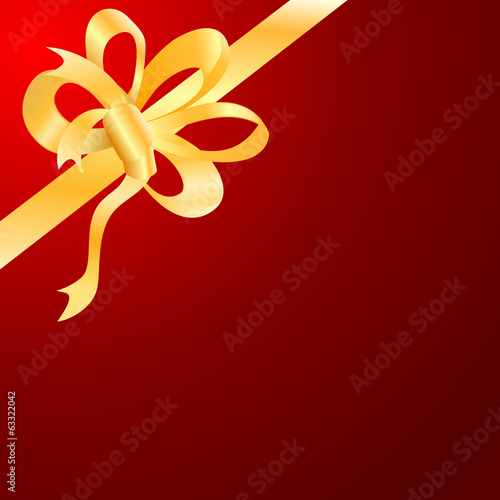 Vector gold bow, ribbon