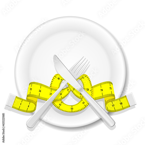 Plate with knife, fork and measure tape