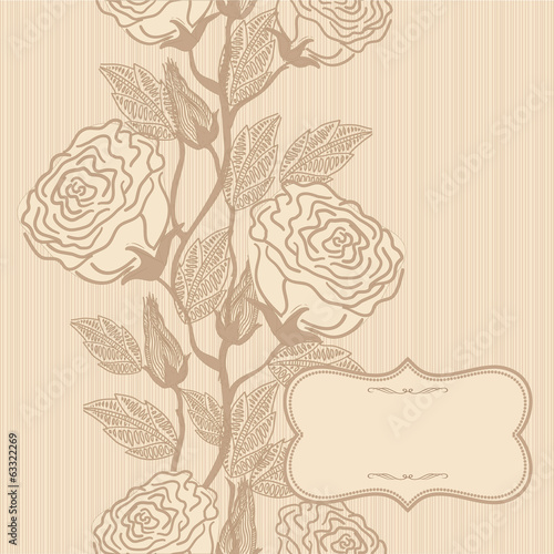 Wedding card or invitation with vertical seamless floral pattern