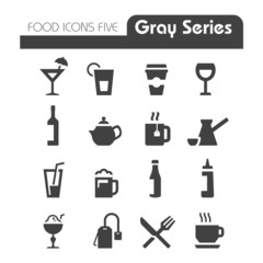 Drinks Icons Gray series