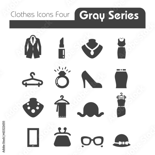 Clothes Icons Gray Series Four.