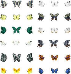 36個の蝶のアイコン。
