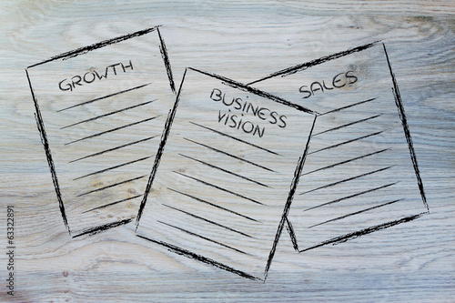 business documents: growth, business vision, sales