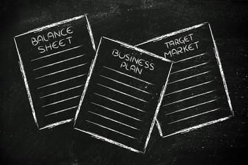 business documents: balance sheet, business plan, target market