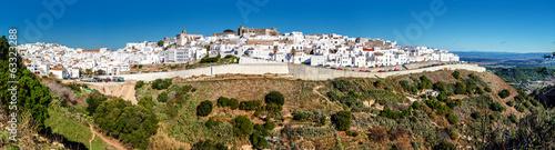 Leinwanddruck Bild Panorama of Vejer de la Frontera. Costa de la Luz, Spain