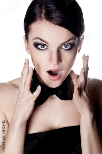Screaming woman with bow tie
