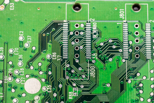 Electronic Computer Circuit Board Close Up