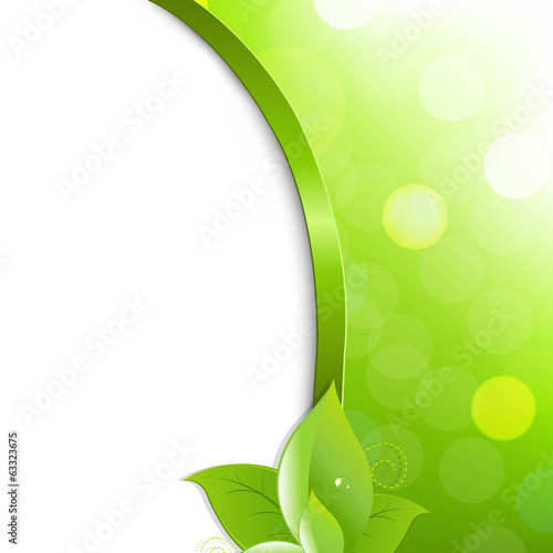 Green Eco Poster With Leaves