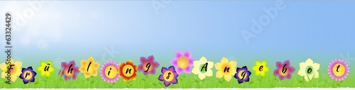 Banner with Spring sale on the flowers in German