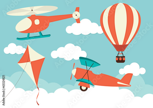 Helicopter, Plane, Kite & Hot Air Balloon - 63324821