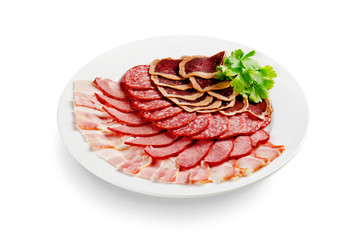 assorted meat isolated on white background