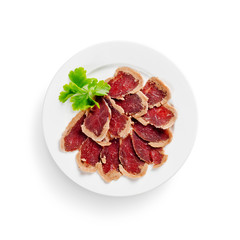 basturma. charcuterie. isolated on white background