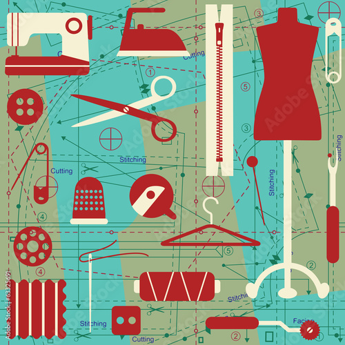 Vector seamless pattern with sewing related elements