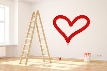 Herz an Wand als Symbol für Liebe