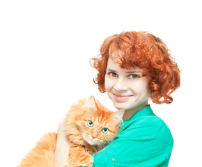 curly red-haired girl with a red cat isolated on white