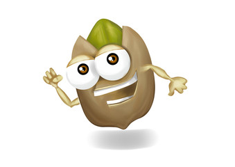 Running pistachio cartoon character, jogging and being fit