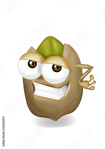 Cool funny pistachio cartoon character with a big smile.
