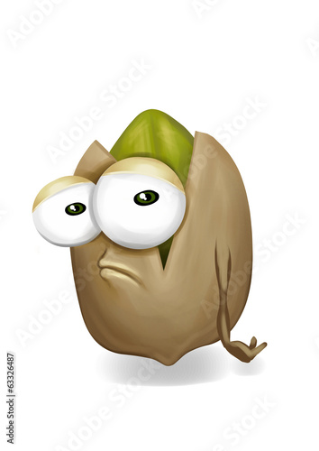 Sad brown pistachio cartoon, a depressed, disappointed cashew