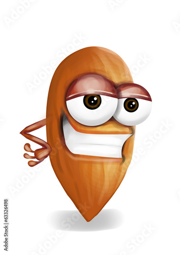 Cool funny almond cartoon character with a big smile.