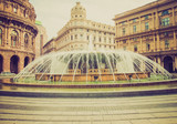 Retro look Piazza de Ferrari in Genoa