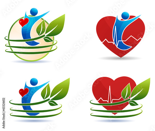 Human health care symbols, healthy heart concept