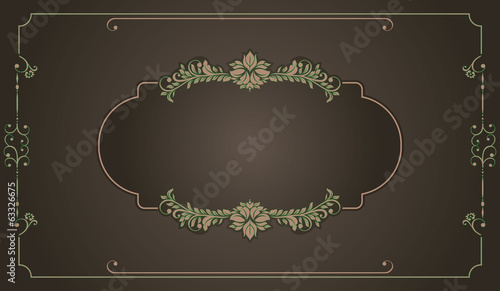 invitation card with victorian ornaments and vintage frame