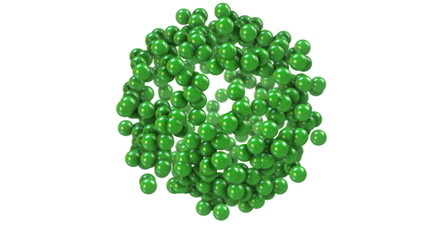 Green molecular structure dividing into atoms