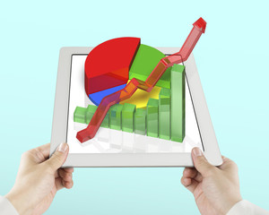 Hand holding tablet with 3d chart