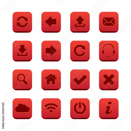 Red square web buttons