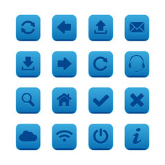 Blue square web buttons