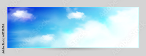 Blue sky with clouds, vector background, horizontal banner