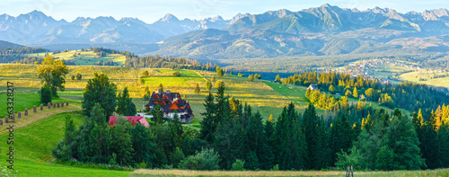 Summer mountain village panorama (Poland)