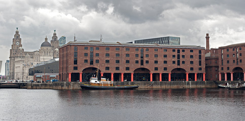 Albert Dock and Liver Buildings Liverpool UK