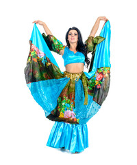gypsy woman posing against isolated white background