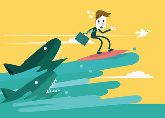 Businessman surfing to escape the shark attack. Vector