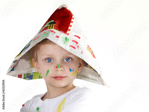 canvas print picture Cute little boy shows his coloured hat