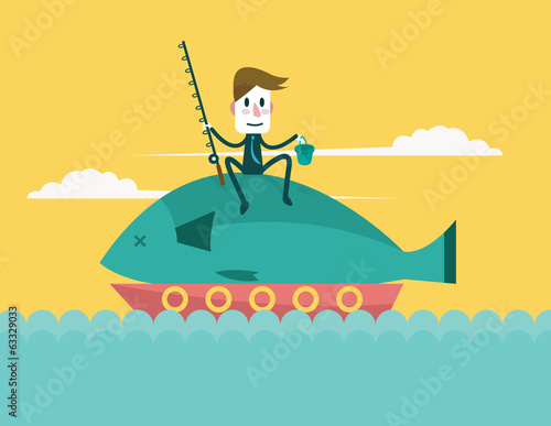 Businessman catch big fish. Vector