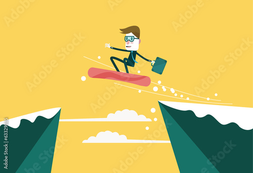 Businessman use snowboard jumping through the gap.
