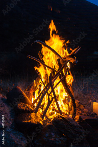 Overnight in tents near a fire