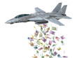 warplane launching euro banknotes instead of bombs