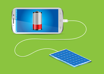 Charging a mobile phone with a Solar powerbank - vector illustra
