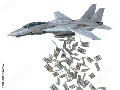 warplane launching dollars instead of bombs