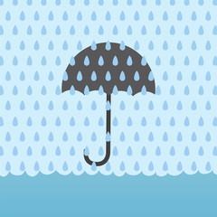 Umbrella behind rain storm and above flood