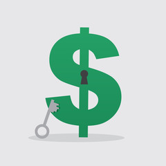 Dollar sign with keyhole and key