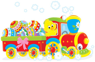 Easter Chick on a toy train
