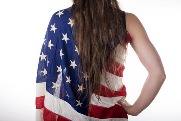 young woman dressed with an American flag